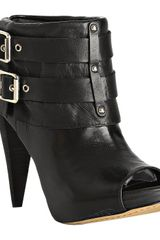 Vince Camuto Black Leather Flore Peep Toe Buckle Booties - Lyst