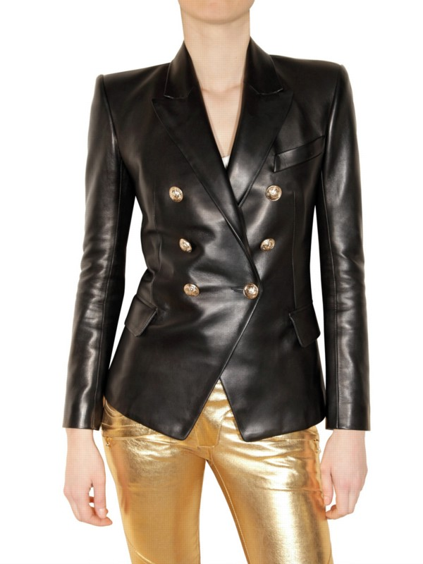 0aa39ef5 Balmain Leather Double-breasted Jacket in Black - Lyst