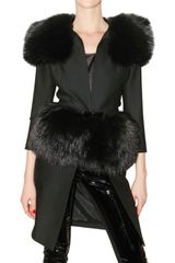 DSquared2 Stretch Cady and Fox Fur Coat - Lyst