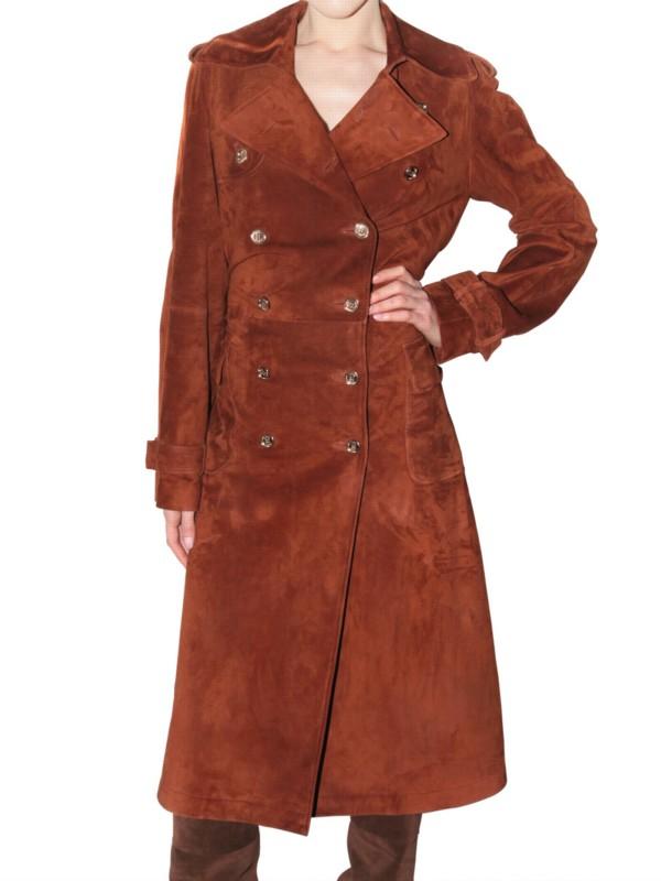 Gallery - Ferragamo Long Suede Trench Coat In Brown Lyst