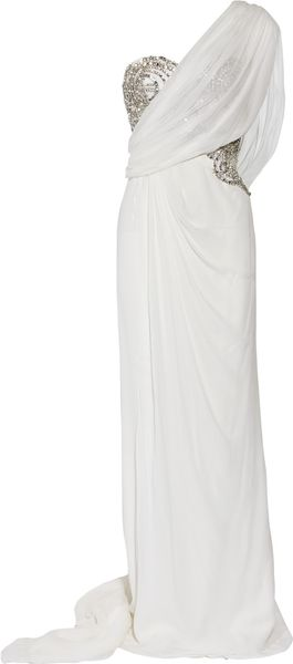 Marchesa One-shouldered Crystal-embellished Silk-chiffon Gown - Lyst