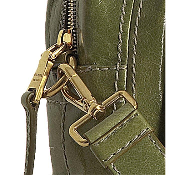 Prada Edera Green Vitello Shine Logo Zip Top Satchel in Green ...