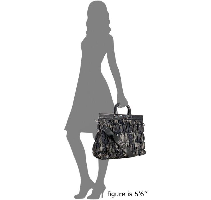 Prada Smoke Camouflage Print Nylon Ruched Top Handle Bag in Gray ...