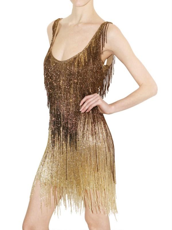 lyst roberto cavalli embellished fringed dress in metallic