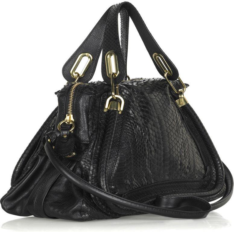 Chloé Paraty Python Bag in Black (python) | Lyst