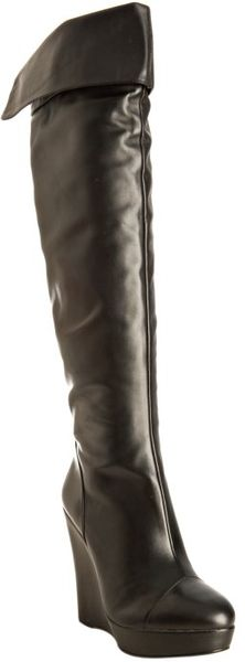 Pour La Victoire Black Leather Cordelia Cuffed Tall Wedge Boots - Lyst