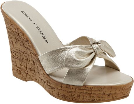 Athena Alexander Rusty Wedge Slide In Gold Champagne