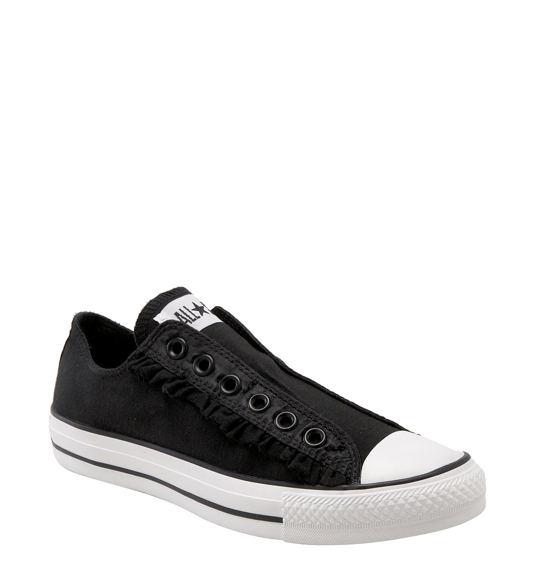 converse chuck taylor ruffle slip on sneaker in black black white. Black Bedroom Furniture Sets. Home Design Ideas