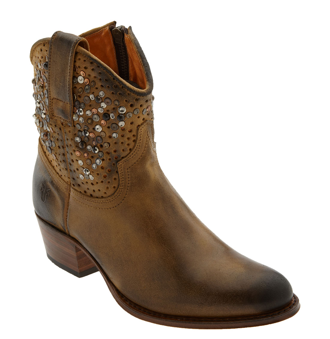 frye deborah studded ankle boot in brown lyst
