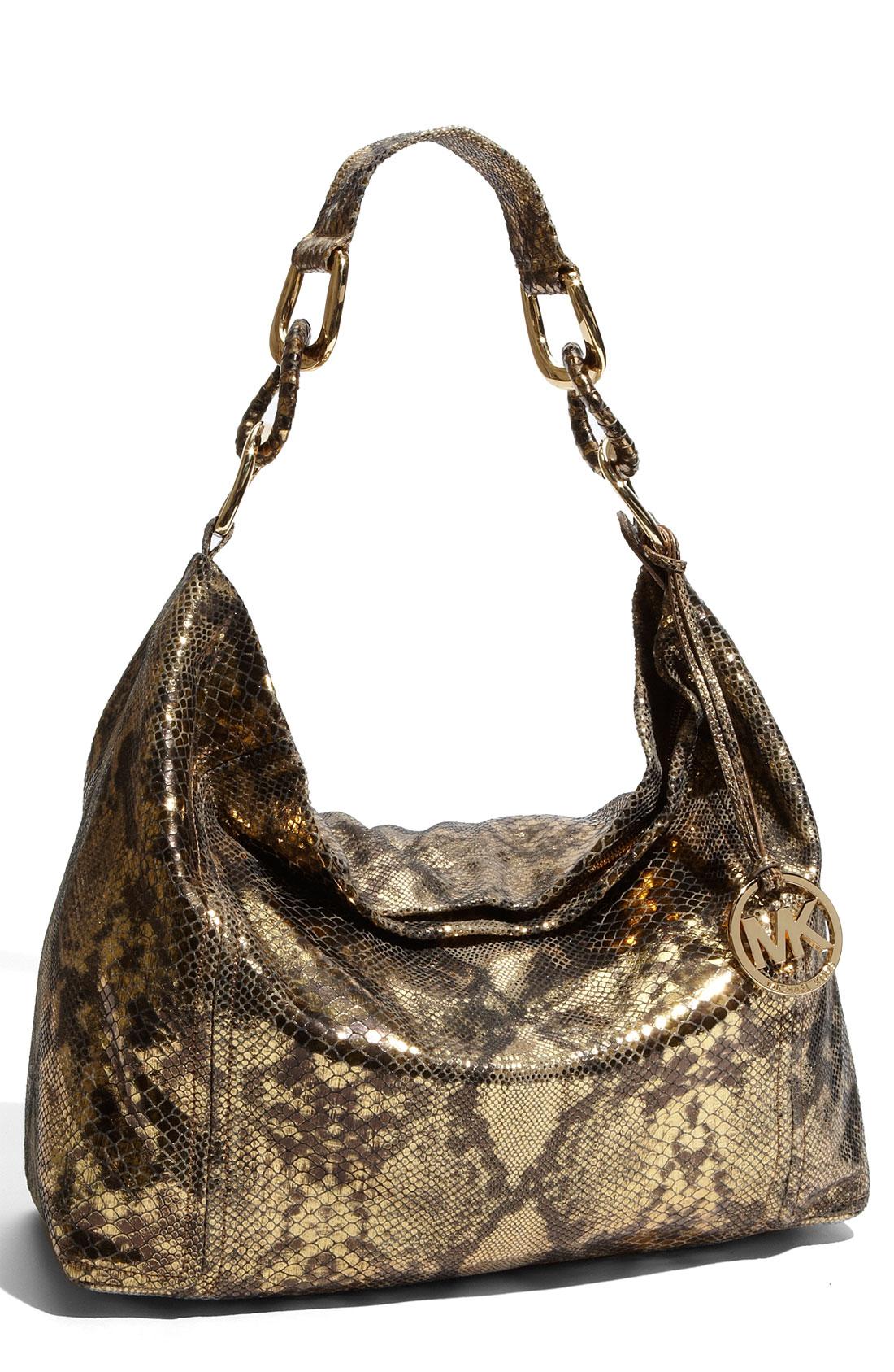 Michael Michael Kors Oversized Id Chain Shoulder Bag Black Python 79
