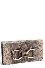 Michael by Michael Kors Oversized Id Chain Python Embossed Clutch - Lyst