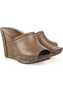 See By Chloé Peep-toe Leather and Wooden Wedges - Lyst