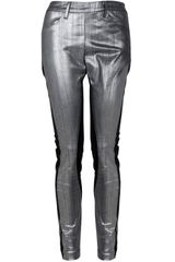 Acne Skin Panel Pants in Silver - Lyst