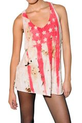 Balmain Burnt Flag Gauze Tank Top - Lyst