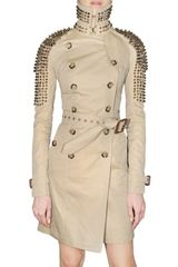 Burberry Prorsum Studded Gabardine Trench Coat in Beige - Lyst