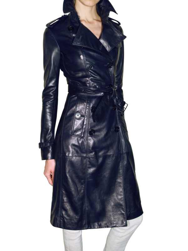 Lyst Burberry Prorsum Soft Leather Trench Coat In Blue