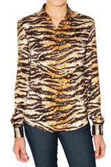 D&G Tiger Print Stretch Satin Shirt - Lyst
