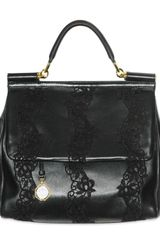 Dolce & Gabbana Lace and Nappa Top Handle - Lyst