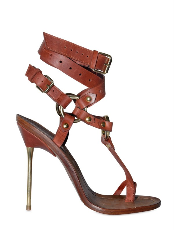 33366566d01758 Lyst - Emilio Pucci 120mm Criss Cross Ankle Thong Sandals in Brown