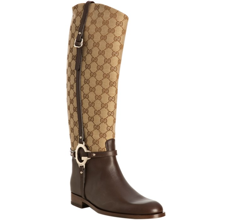 Gucci Beige Gg Canvas Tall Riding Boots In Beige Lyst