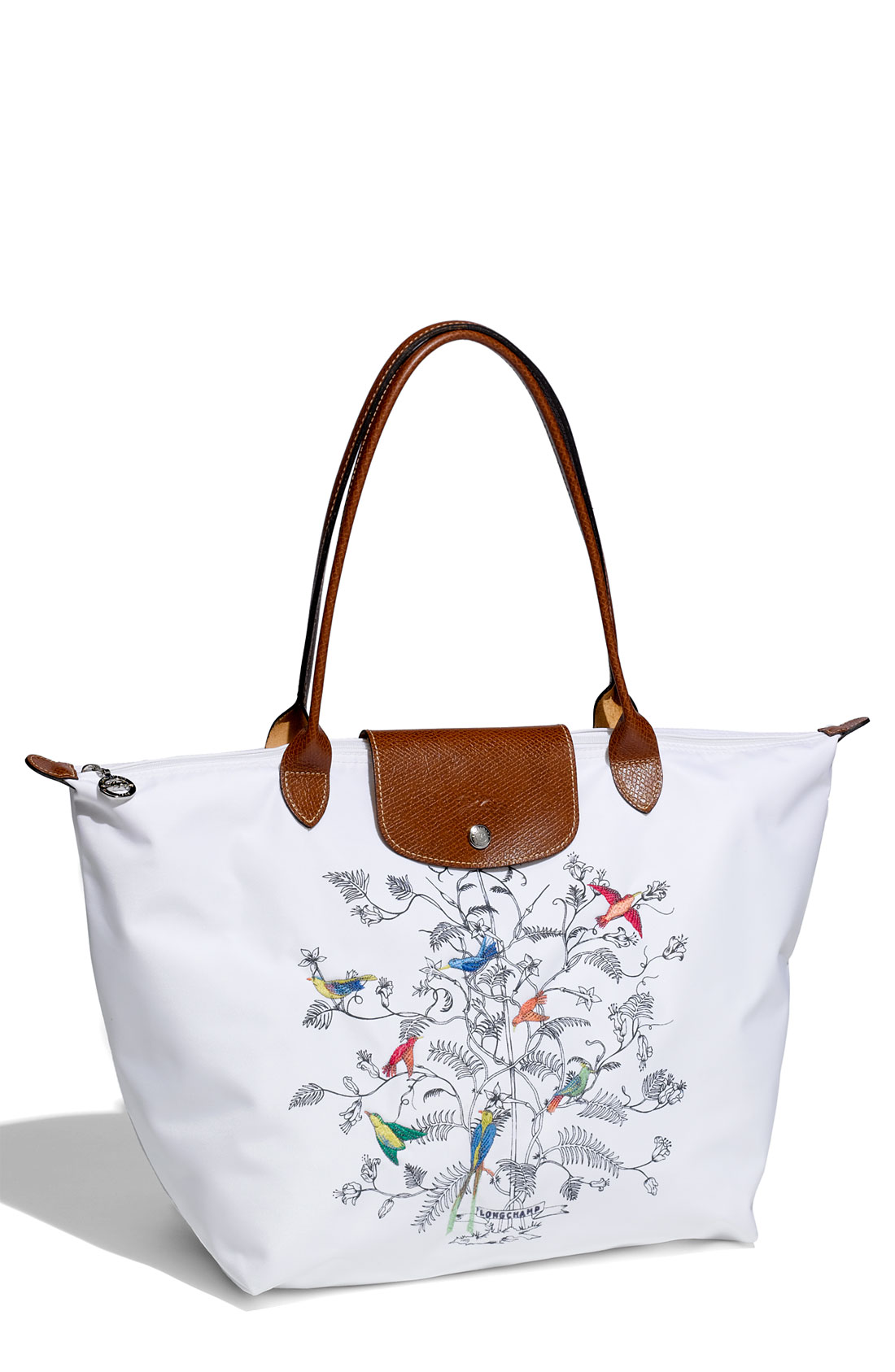 longchamp le pliage arbre de vie large tote in white lyst. Black Bedroom Furniture Sets. Home Design Ideas