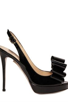 Valentino 120mm Patent Front Bow Sandals - Lyst