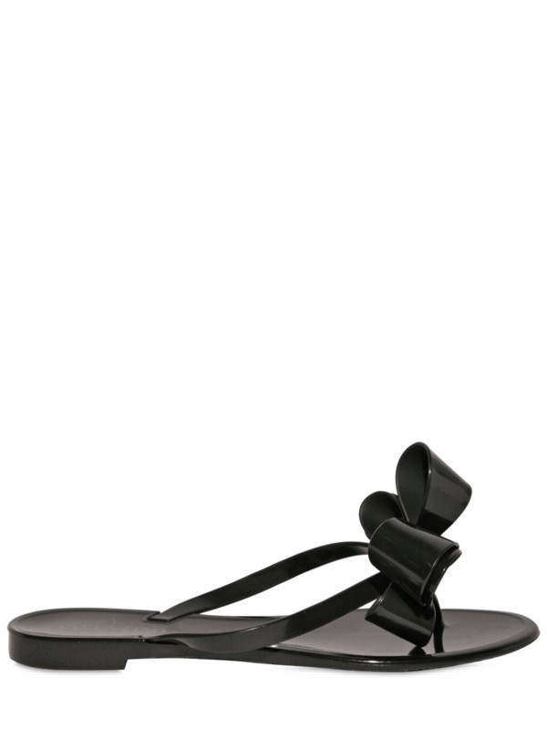 Valentino Couture Bow Jelly Sandals In Black  Lyst-7029