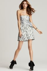 BCBGMAXAZRIA Silver Jacquard Party Dress