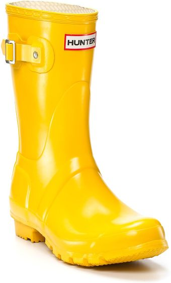 Hunter Womens Original Short Rain Boots - Yellow - Lyst