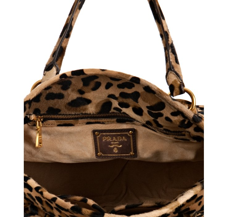 Prada Sand Leopard Print ? Bauletto Bowling Bag in Animal (sand ...