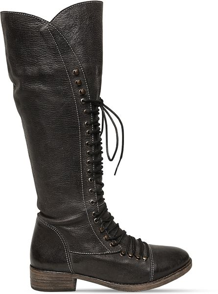 Steve Madden Perrin Tall Lace Up Military Boots In Black