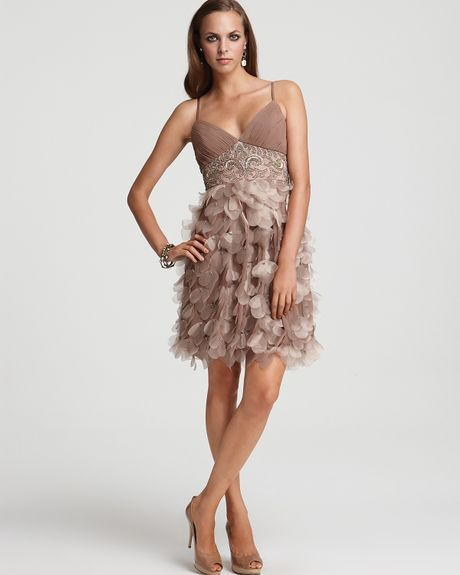 Sue Wong Organza Petal Empire Dress in Brown (Taupe)