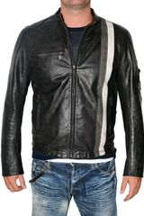 Belstaff Front Stripe Racing Vent Leather Jacket - Lyst