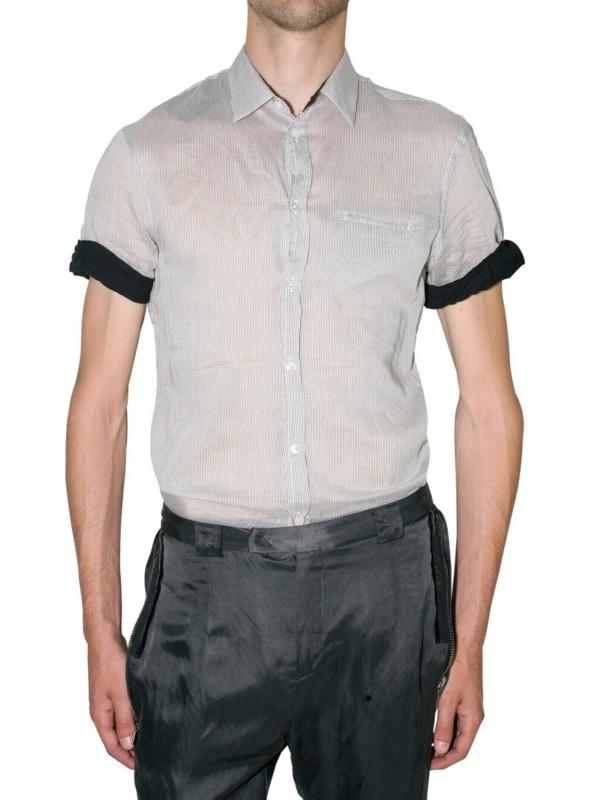 Costume National Stripe Silk Cotton Shirt In White For Men