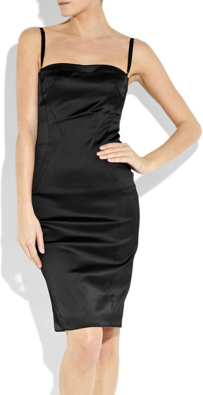 D&g Satin Bustier Dress in Black