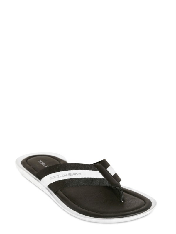 1a62c2ac5d5 Lyst - Dolce   Gabbana Grosgrain and Calf Flip Flop Sandals in Black ...