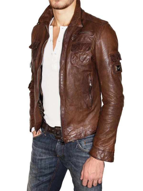 Lyst Dolce Amp Gabbana Washed Nappa Leather Jacket In