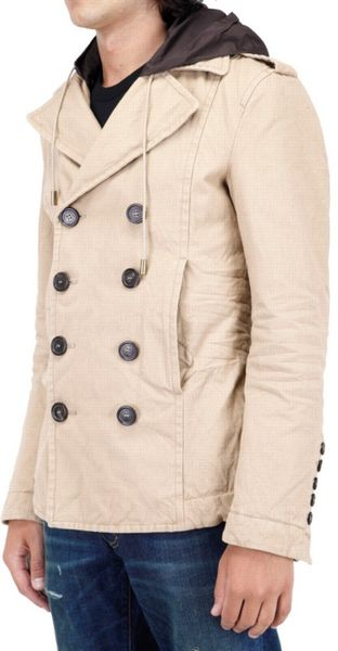 Dsquared 178 Padded Canvas Pea Coat Jacket In Beige For Men