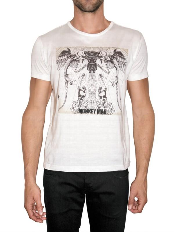 John richmond monkey man t shirt in white for men lyst for Richmond t shirt printing