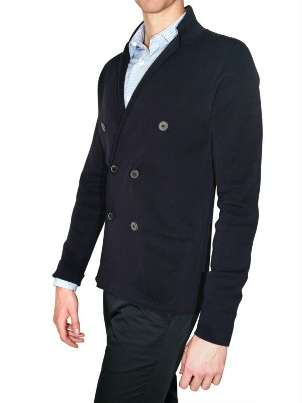 Lanvin Double Breasted Knit Cardigan Sweater in Blue for Men | Lyst