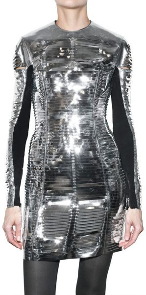 Gareth Pugh Metallic Slit Pvc Dress in Silver - Lyst