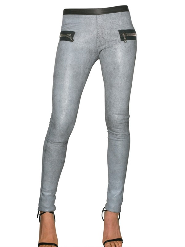 Les chiffoniers Stretch Distressed Leather Leggings in Gray | Lyst