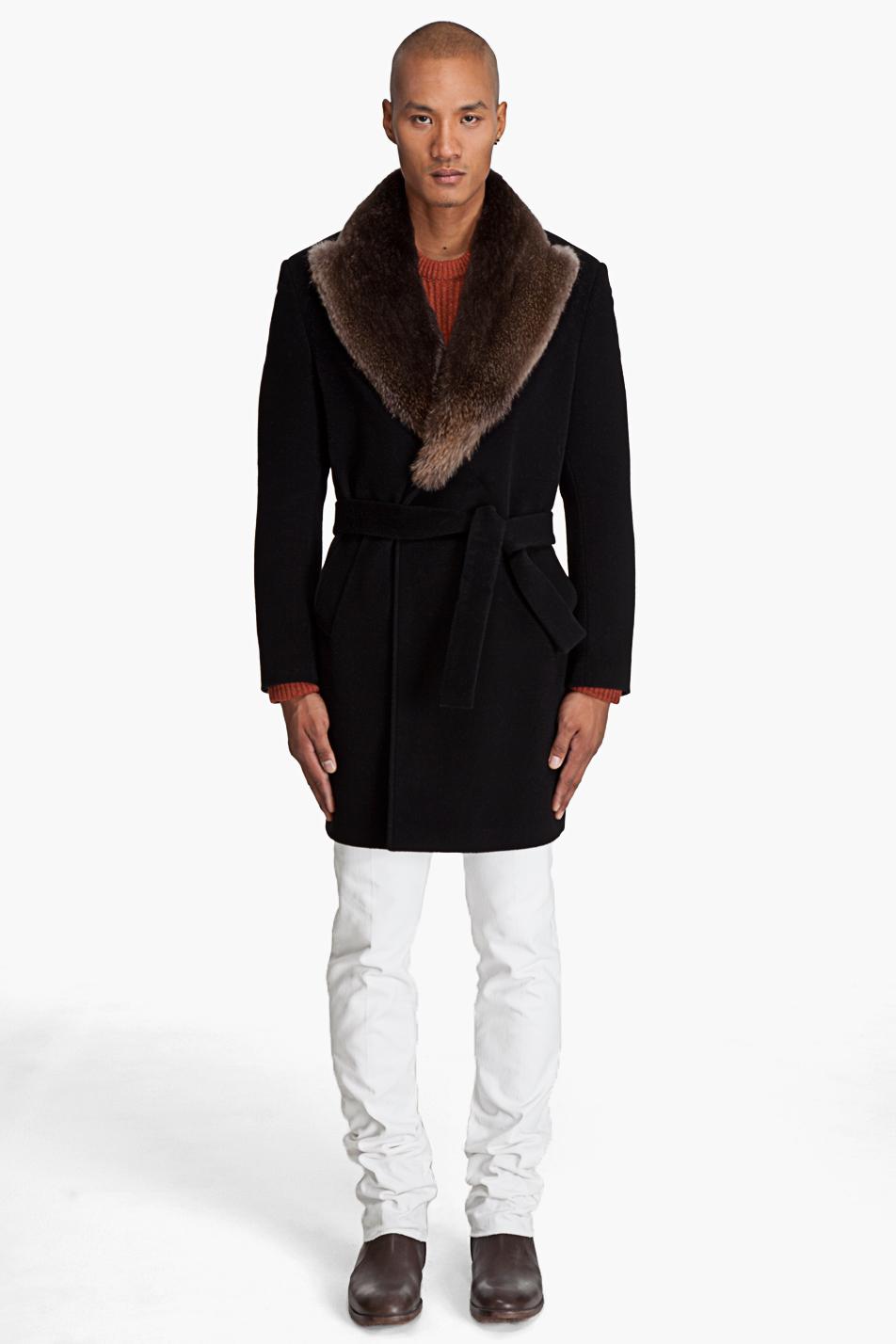 Maison Margiela Fur Collar Coat In Black For Men Lyst