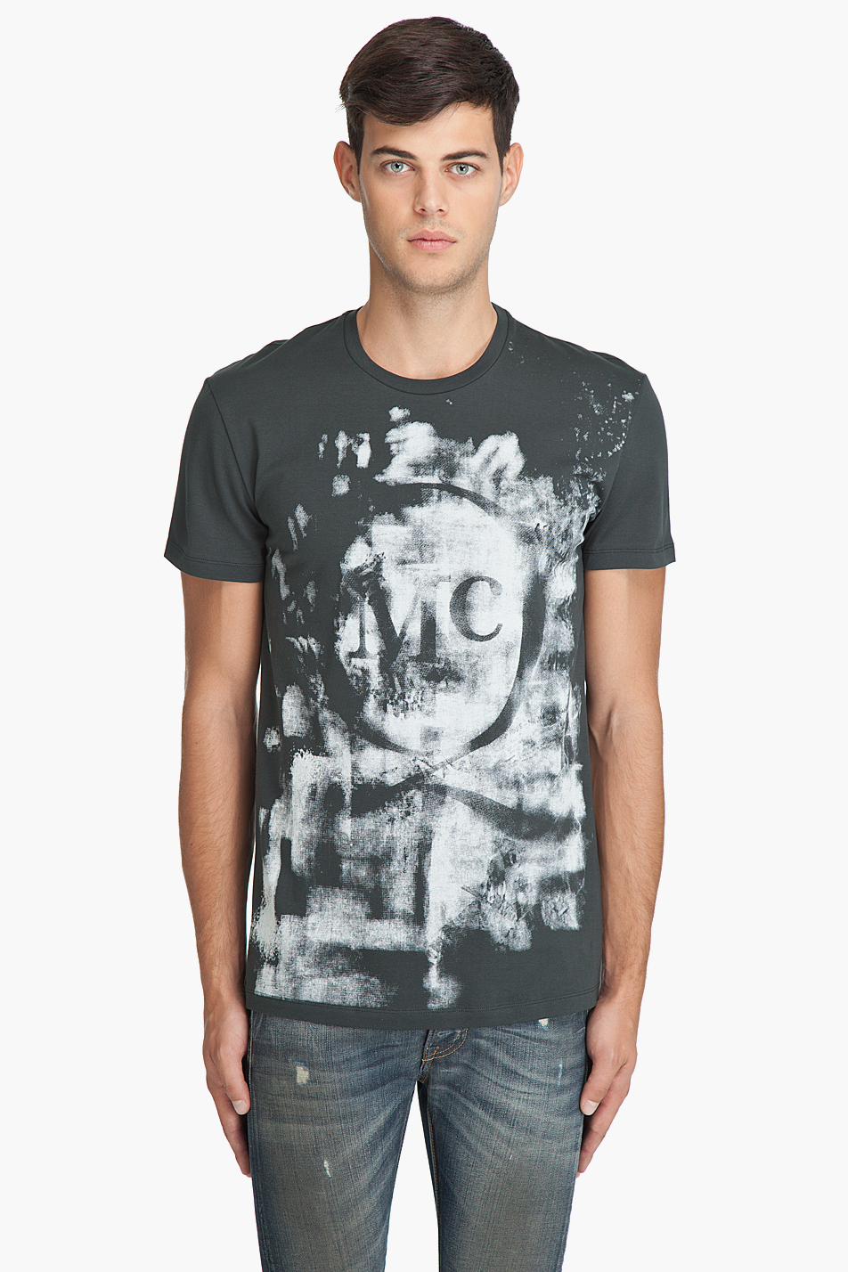 Mcq by alexander mcqueen faded logo t shirt in gray for for Alexander mcqueen shirt men