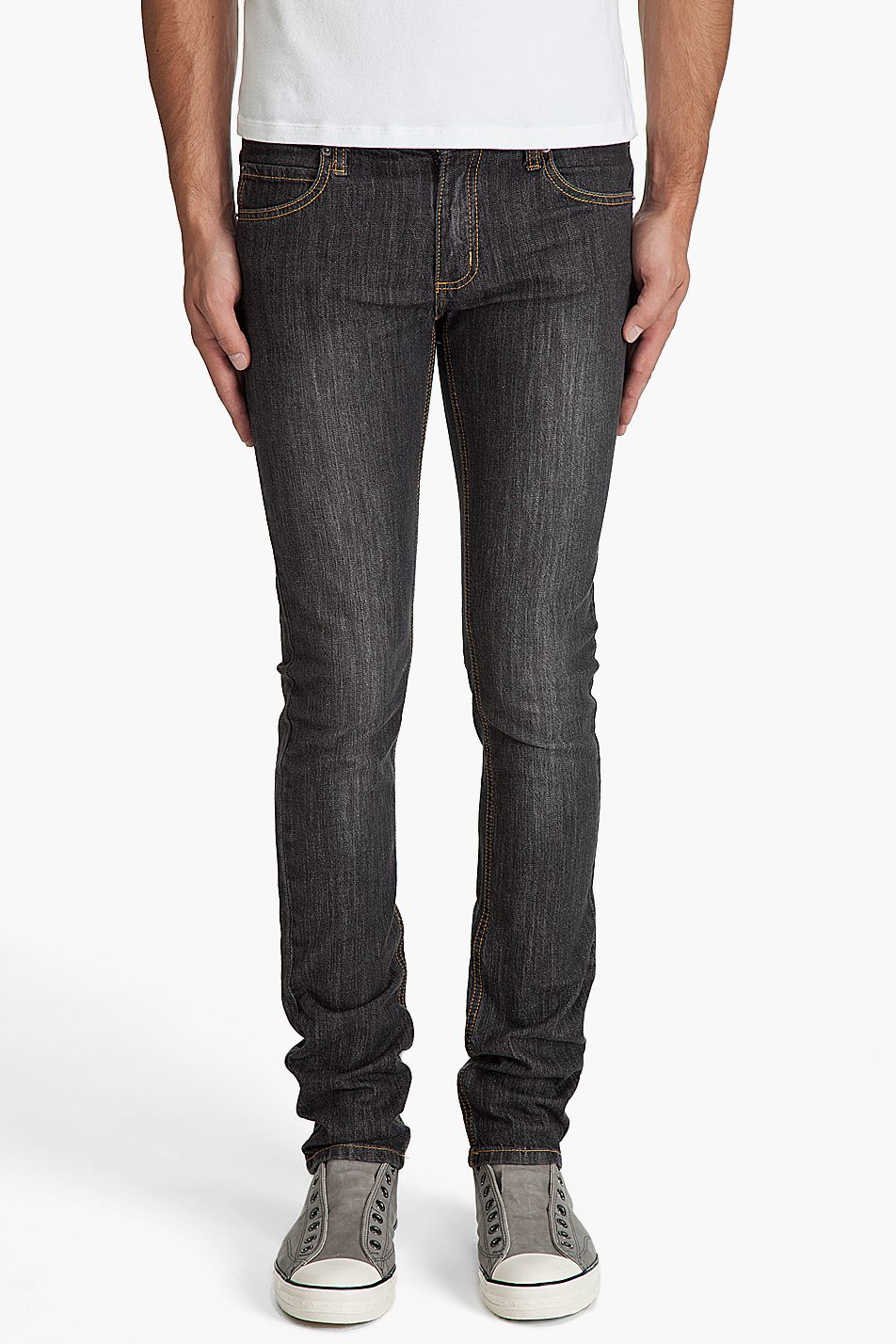 Cheap monday Narrow Washed Black Jeans in Black for Men | Lyst