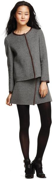 Dkny Leather-trim Jacket and Wrap Skirt in Gray (Heather Gray)