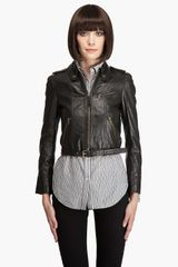 Juicy Couture Long Sleeve Leather Jacket - Lyst