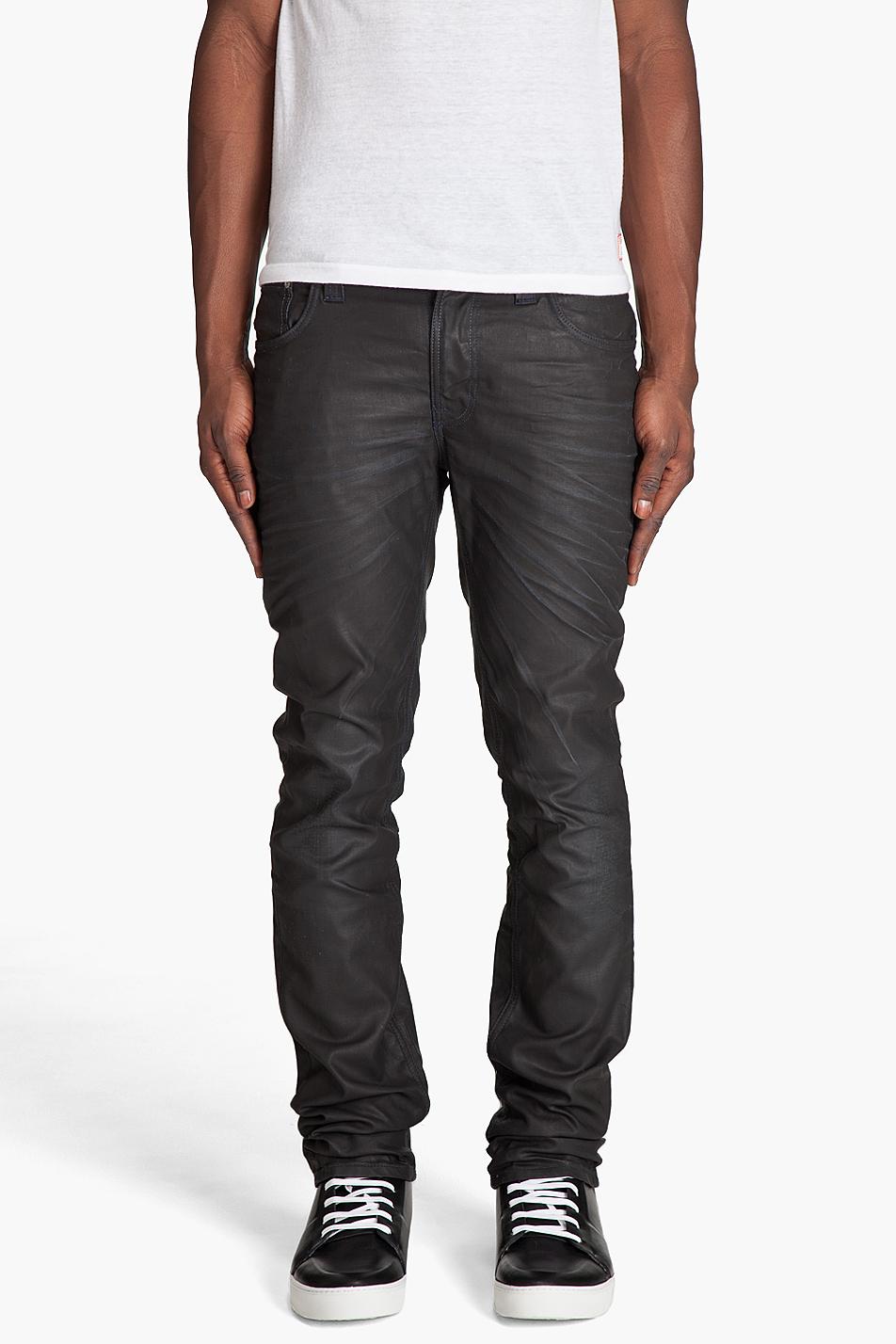 nudie jeans thin finn black coated jeans in black for men. Black Bedroom Furniture Sets. Home Design Ideas