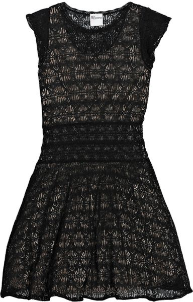 Red Valentino Knitted Lace Mini Dress in Black - Lyst