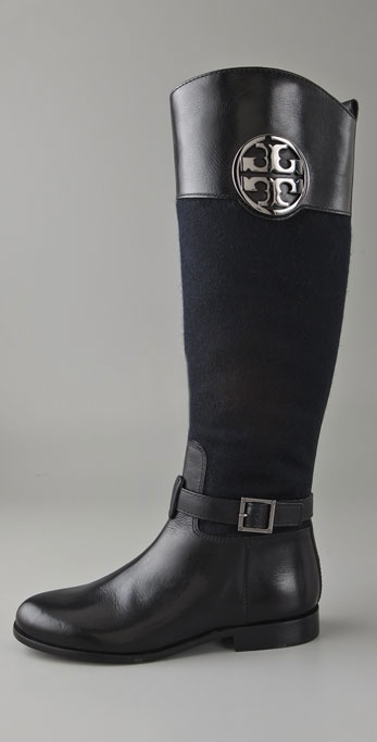 Tory Burch Patterson Riding Boots In Blue Lyst